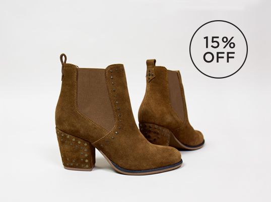 Brown womens crevo boot with suede upper costruction and suede heel at 15% OFF