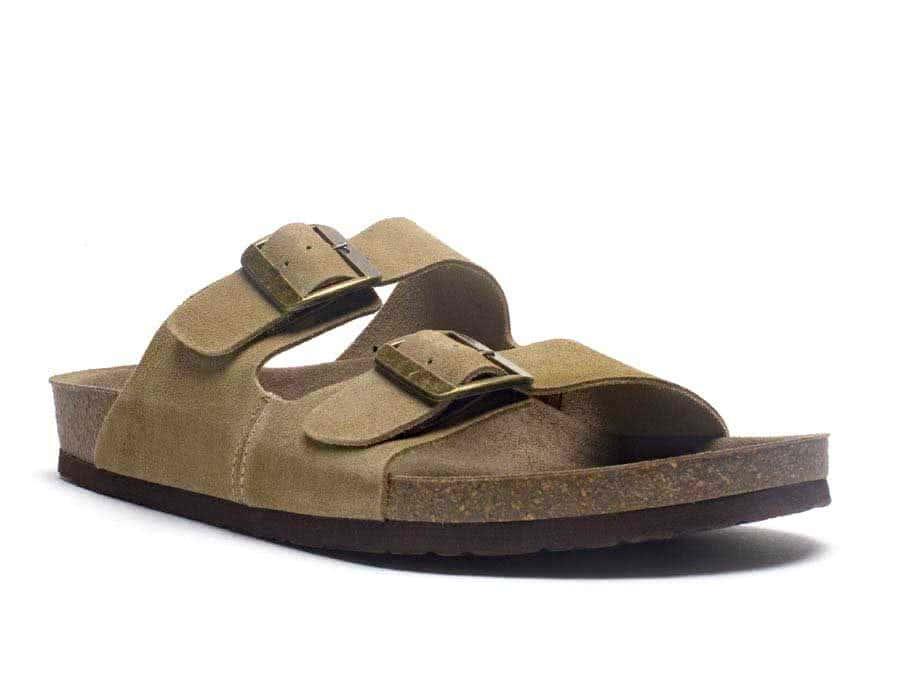 7a3a34af4256 mens leather buckle slip on sandal